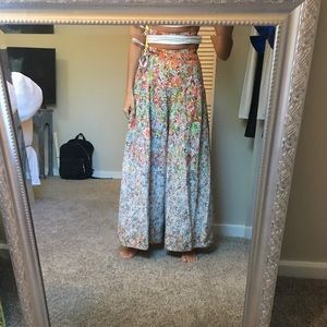 Free People high-waisted, wide-leg floral pants
